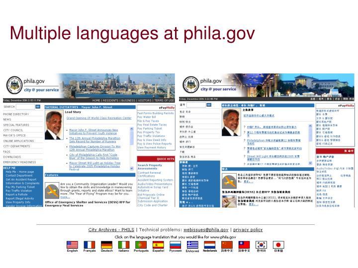 Multiple languages at phila.gov