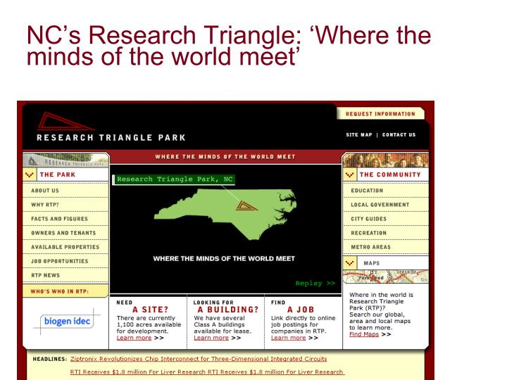 NC's Research Triangle: 'Where the minds of the world meet'