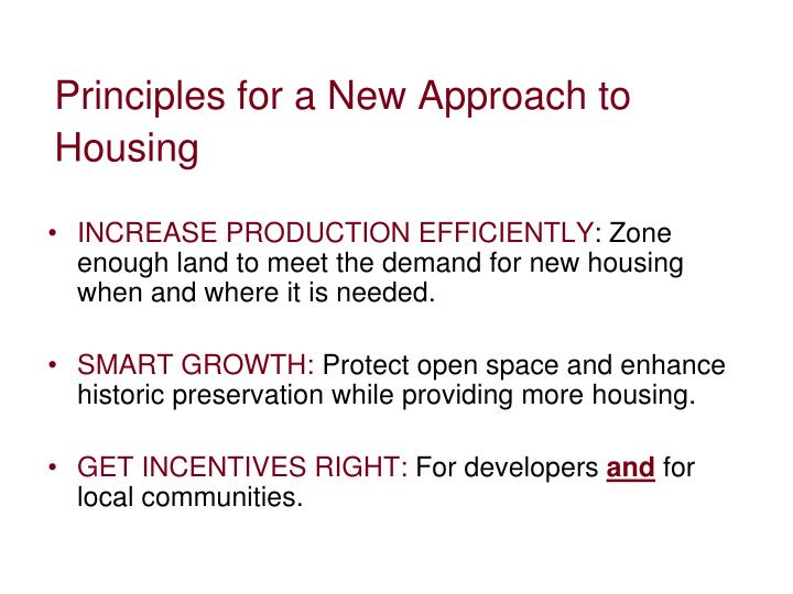 Principles for a New Approach to Housing