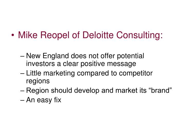 Mike Reopel of Deloitte Consulting: