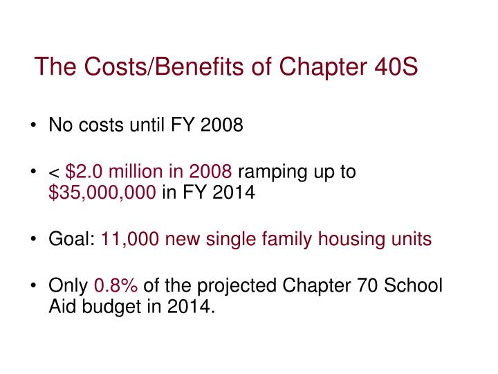The Costs/Benefits of Chapter 40S