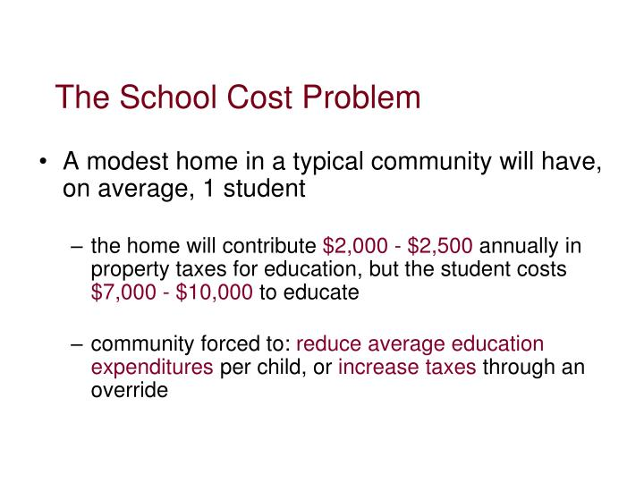 The School Cost Problem