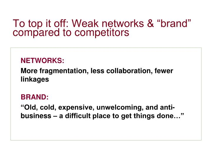"To top it off: Weak networks & ""brand"" compared to competitors"
