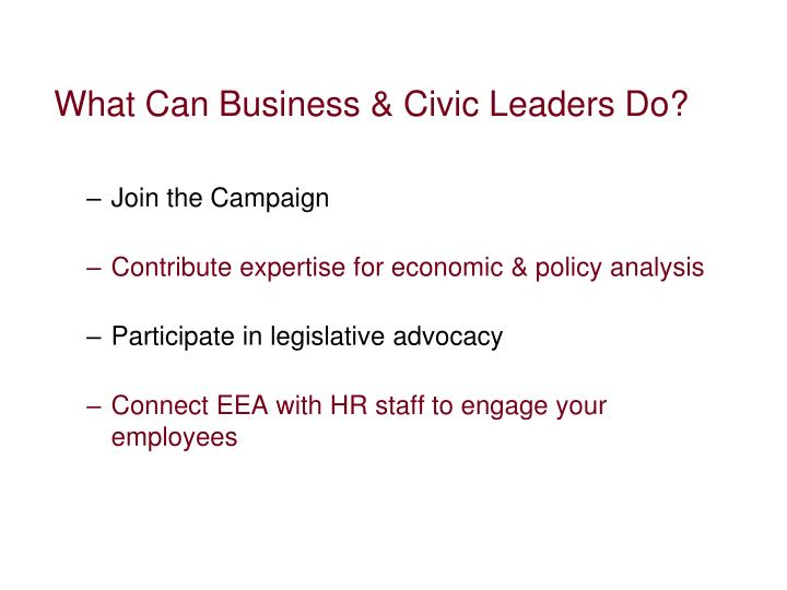 What Can Business & Civic Leaders Do?