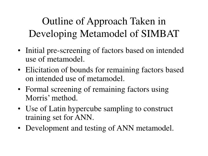 Outline of Approach Taken in Developing Metamodel of SIMBAT
