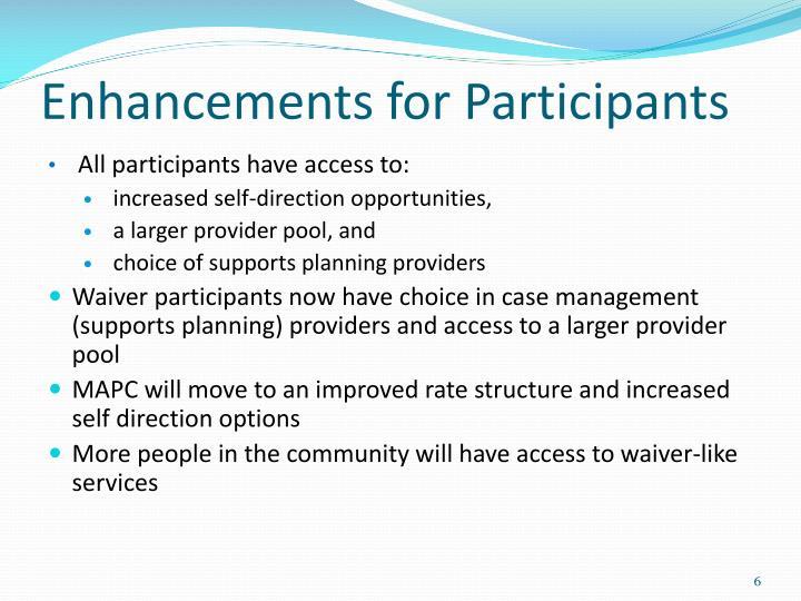 Enhancements for Participants