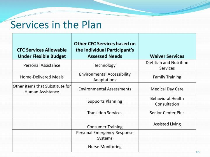 Services in the Plan