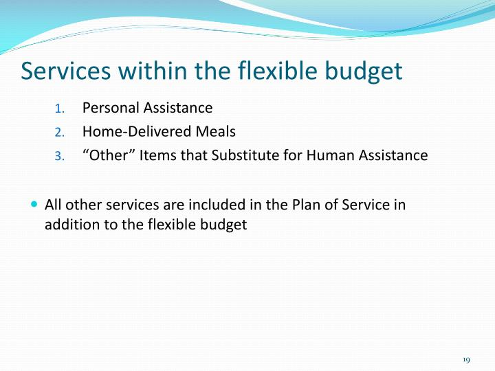 Services within the flexible budget