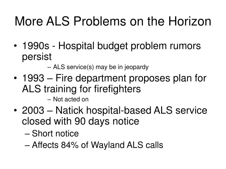 More ALS Problems on the Horizon