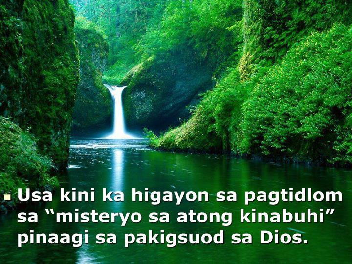 Usa kini ka higayon sa pagtidlom sa misteryo sa atong kinabuhi pinaagi sa pakigsuod sa Dios.