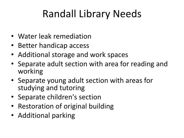 Randall Library Needs