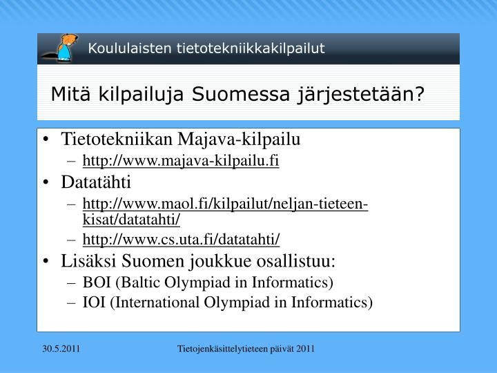 Mitä kilpailuja Suomessa järjestetään?