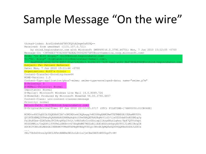 "Sample Message ""On the wire"""