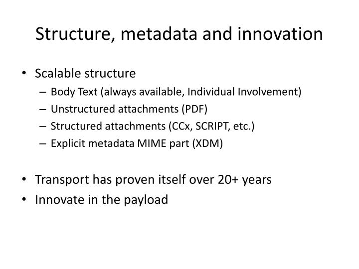 Structure, metadata and innovation