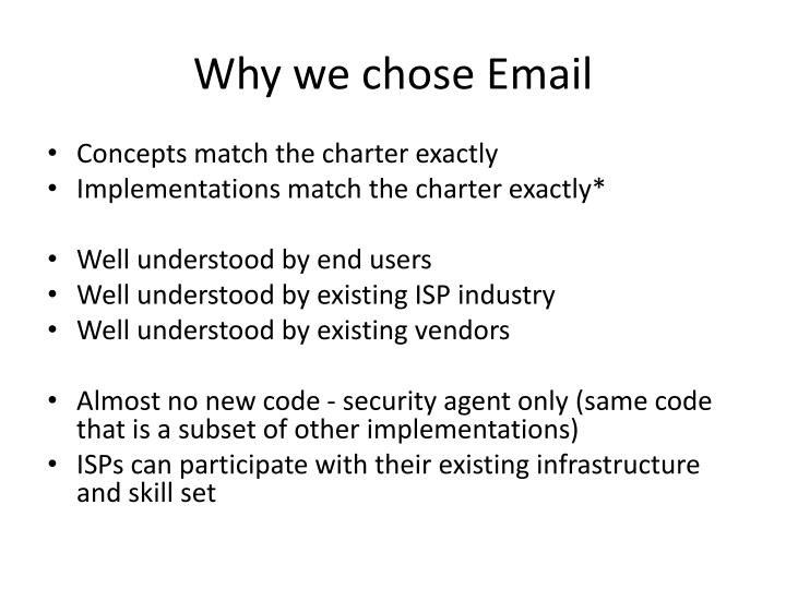 Why we chose email