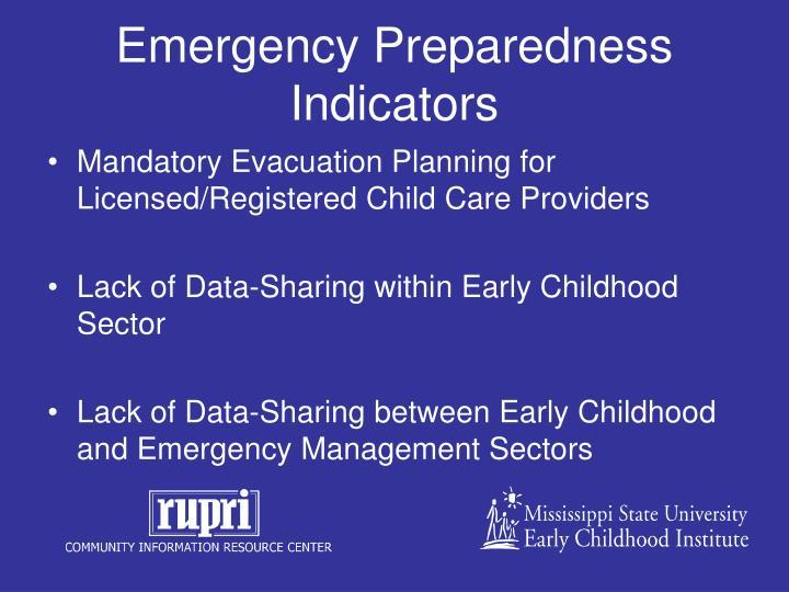 Emergency Preparedness Indicators
