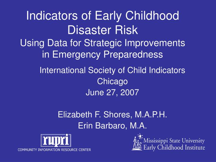 Indicators of Early Childhood Disaster Risk