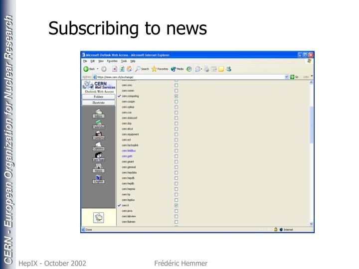 Subscribing to news