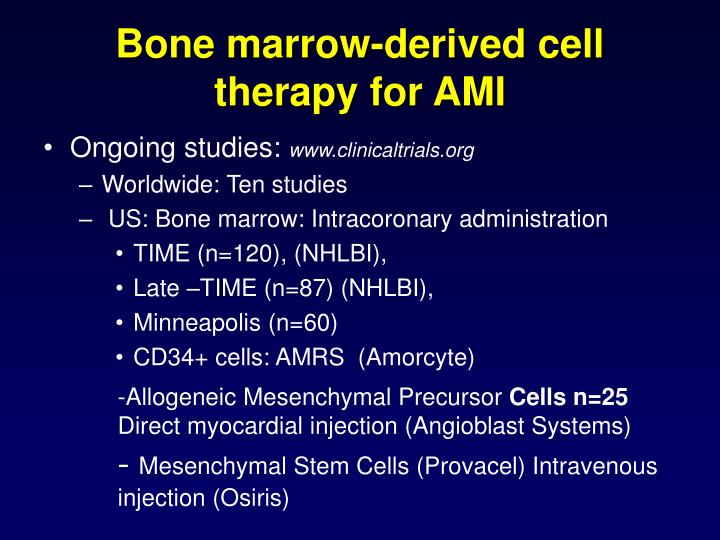 Bone marrow-derived cell therapy for AMI