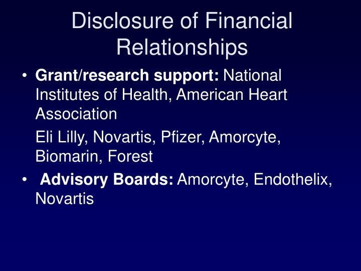 Disclosure of Financial Relationships