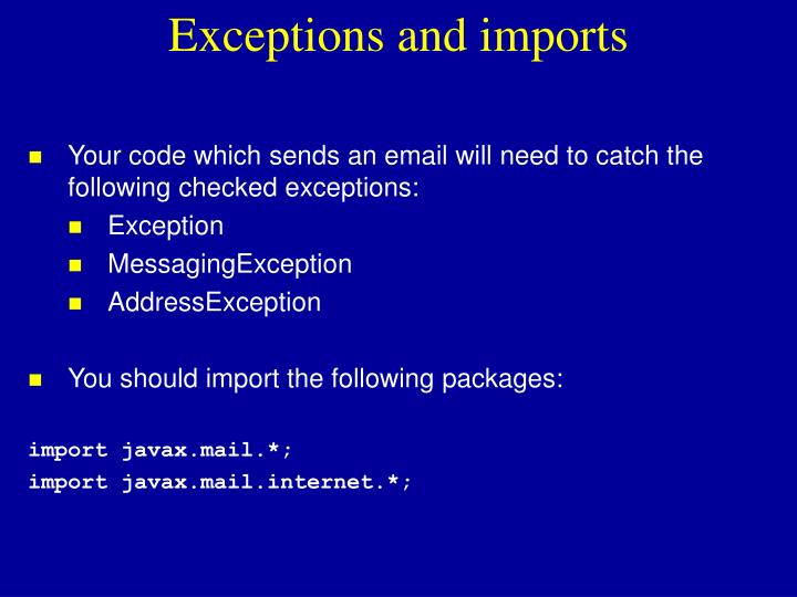 Exceptions and imports