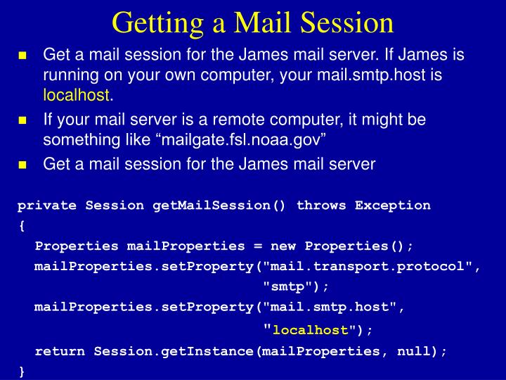 Getting a Mail Session
