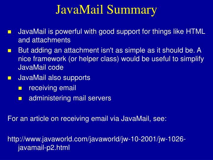 JavaMail Summary