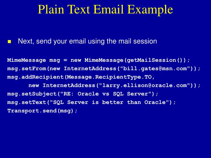 Plain Text Email Example