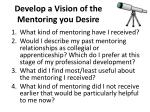 develop a vision of the mentoring you desire
