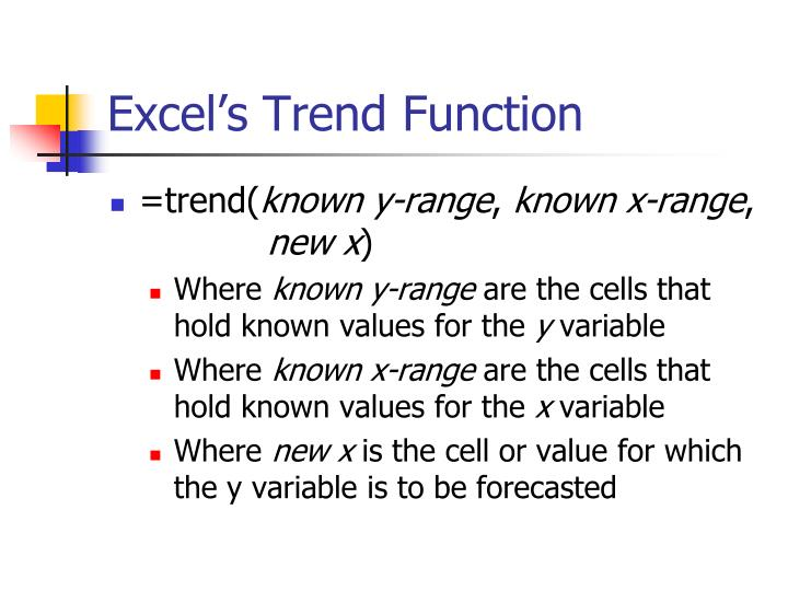Excel's Trend Function