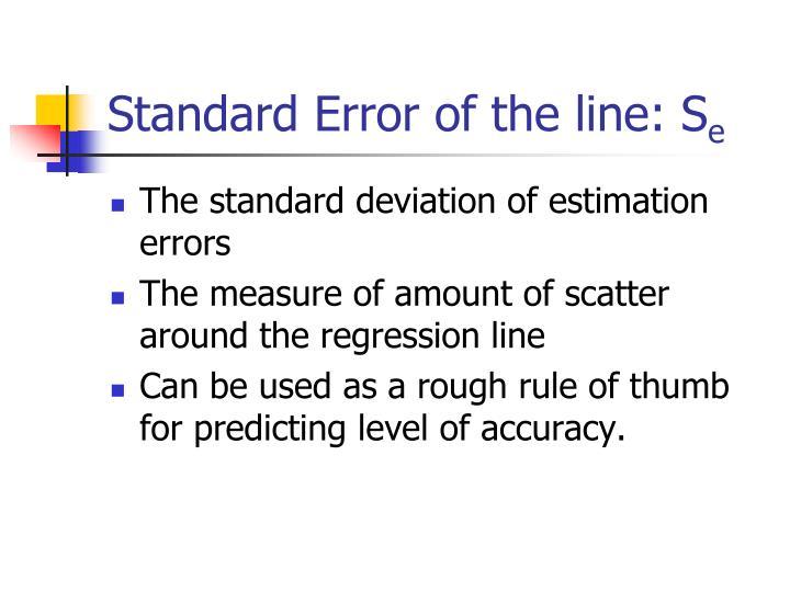 Standard Error of the line: S