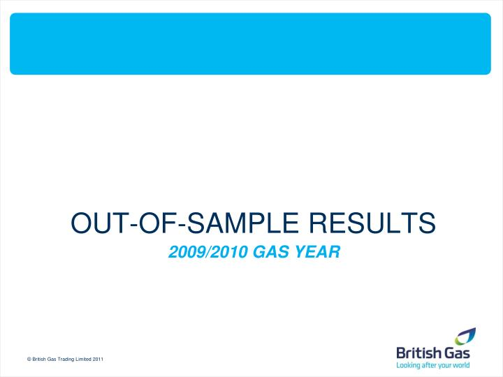 OUT-OF-SAMPLE RESULTS