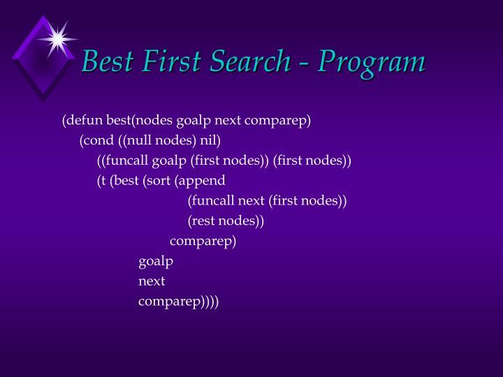 Best First Search - Program