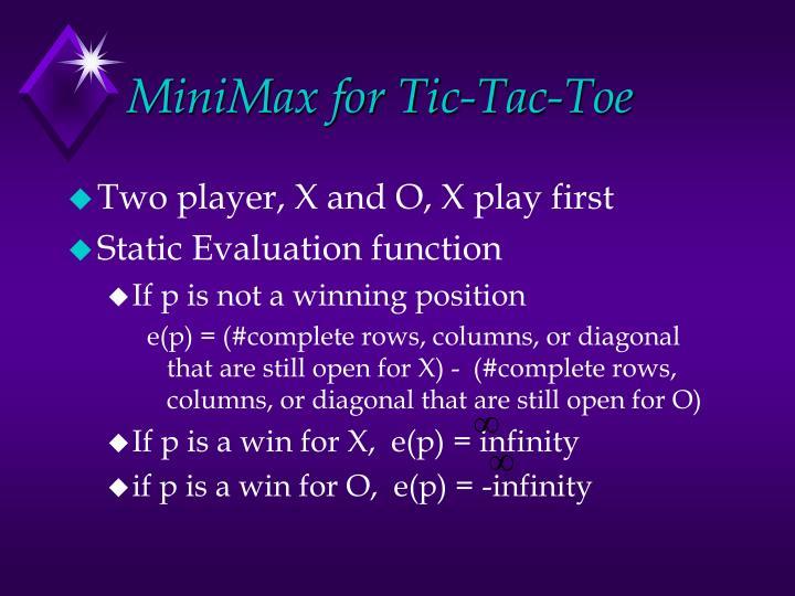 MiniMax for Tic-Tac-Toe