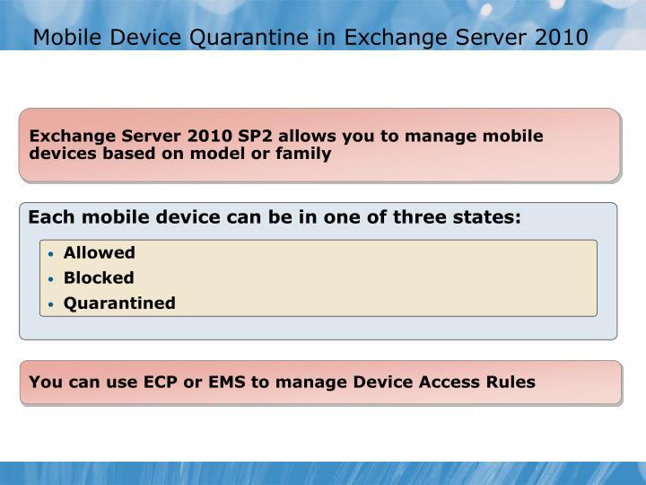 Mobile Device Quarantine in Exchange Server 2010