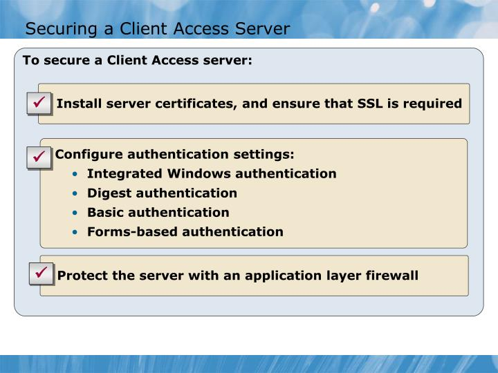 Securing a Client Access Server