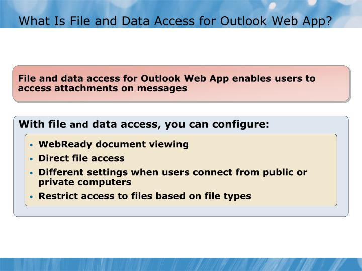 What Is File and Data Access for Outlook Web App?