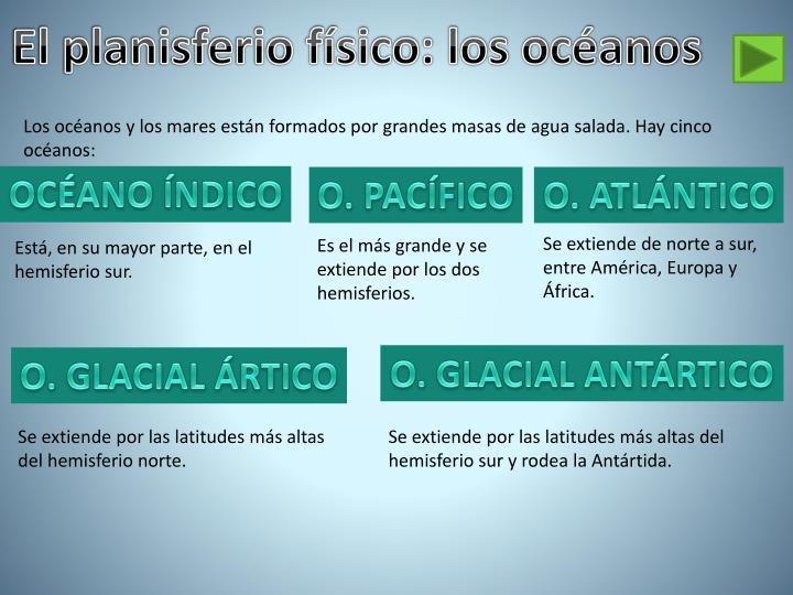 El planisferio físico: los océanos