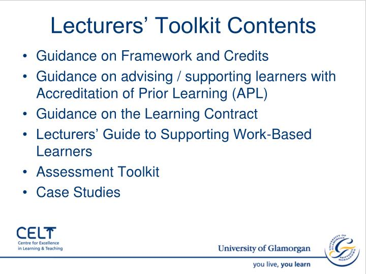 Lecturers' Toolkit Contents