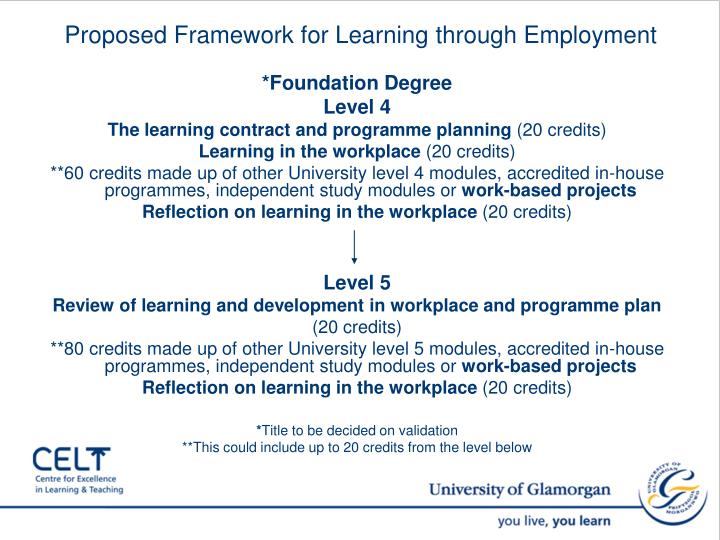 Proposed Framework for Learning through Employment
