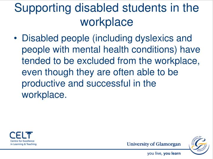 Supporting disabled students in the workplace