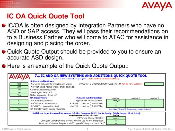 IC OA Quick Quote Tool