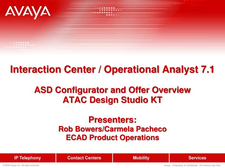 Interaction Center / Operational Analyst 7.1