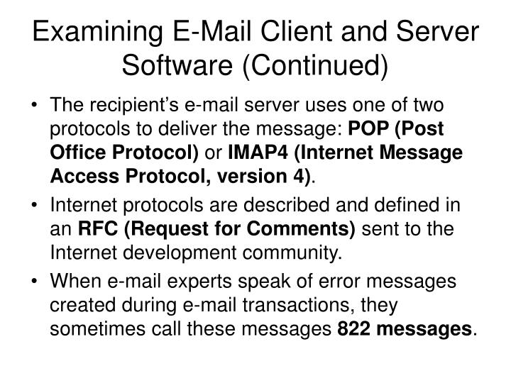 Examining E-Mail Client and Server Software (Continued)
