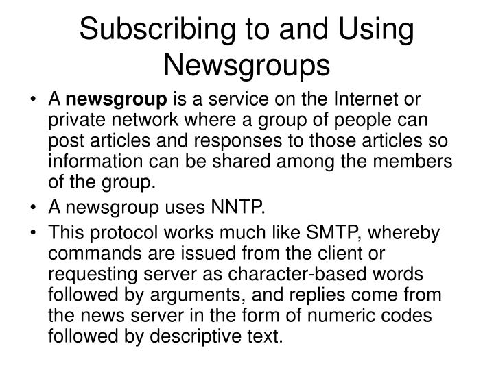Subscribing to and Using Newsgroups