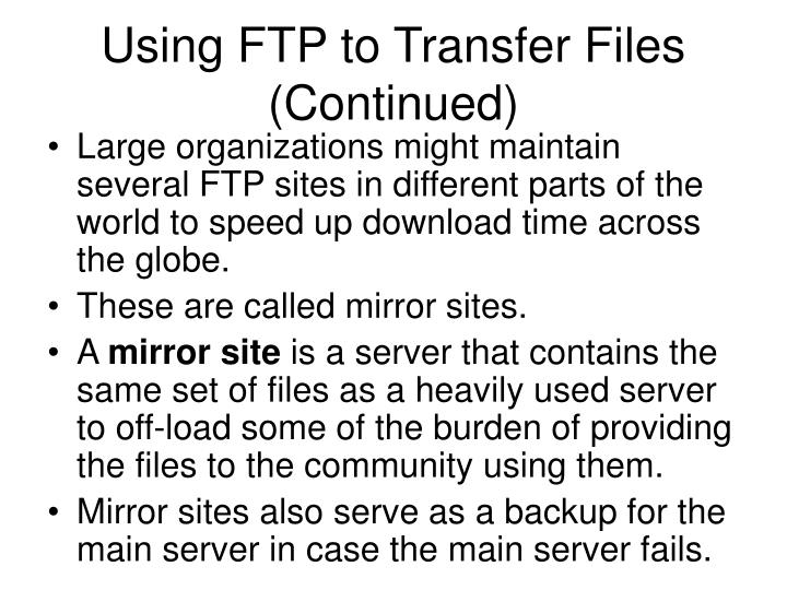 Using FTP to Transfer Files (Continued)
