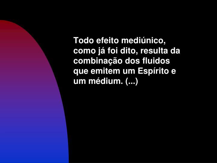 Todo efeito mediúnico, como já foi dito, resulta da combinação dos fluidos que emitem um Espírito e um médium. (...)