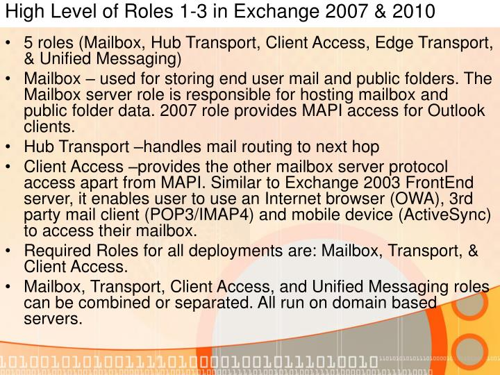 High Level of Roles 1-3 in Exchange 2007 & 2010
