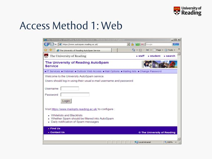 Access Method 1: Web