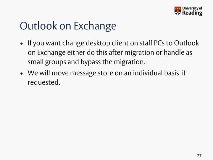 Outlook on Exchange